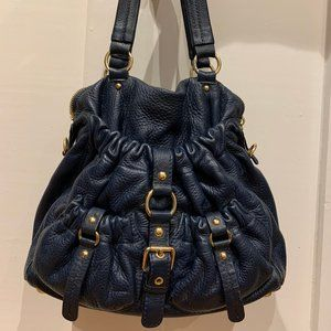 Michael Kors navy blue leather shoulder bag